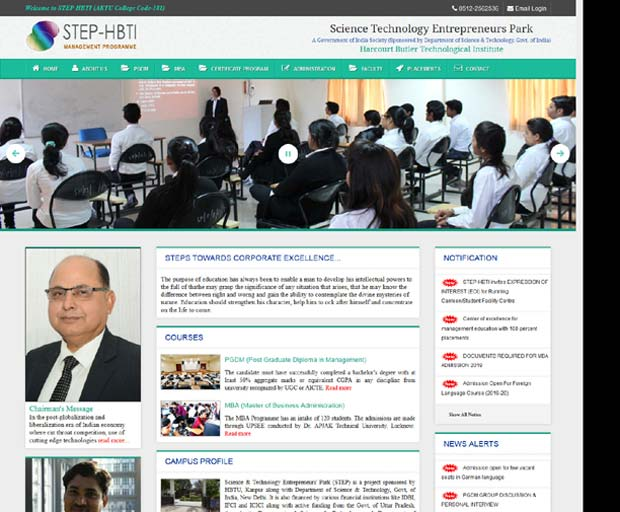 step-hbti college website developed by Zeengal solutions